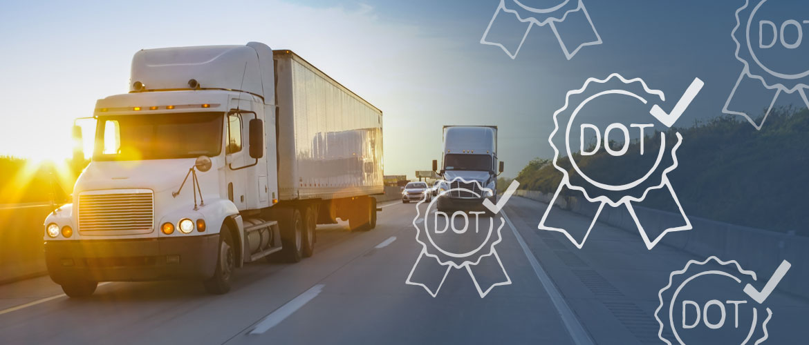 tractor-trailer driving on a busy highway with an overlay of icons of ribbons with DOT written on them