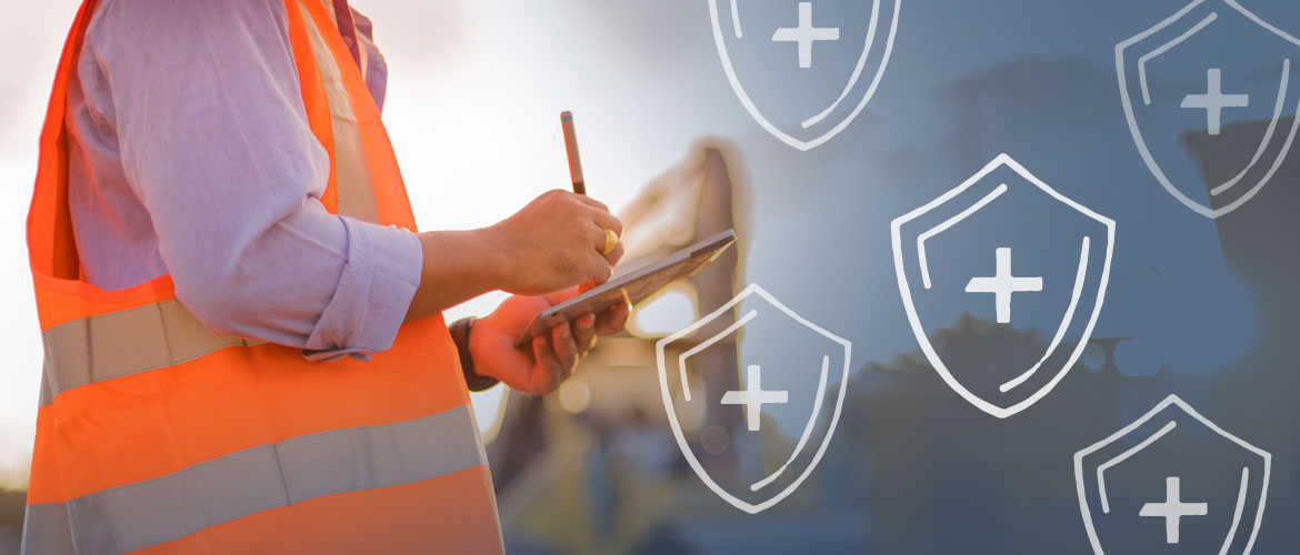 a person wearing an orange safety vest with a clipboard with icons of shields with crosses on them overlaid on the image