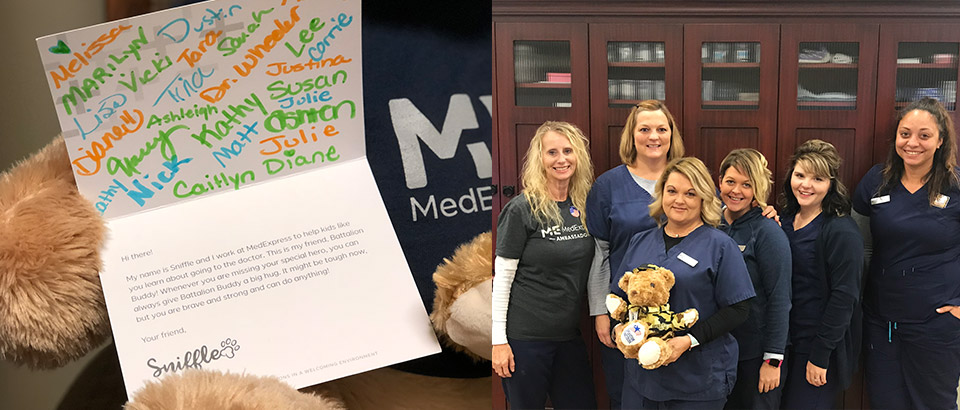 close-up of a handwritten card sent via Operation Gratitude next to an image of MedExpress center staff holding a battalion buddy bear