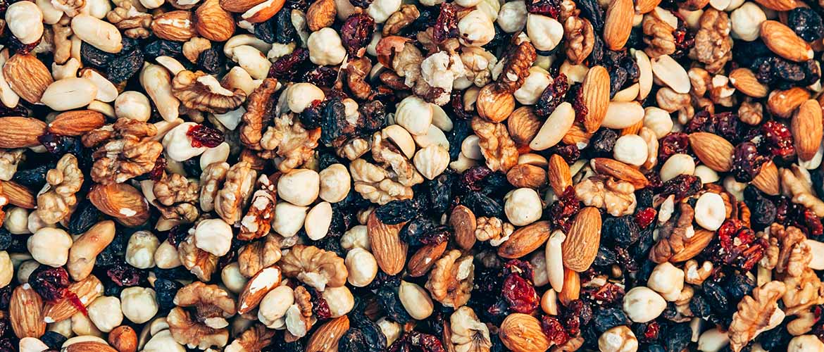 mixture of fruits and nuts, which is a healthy grab and go snack