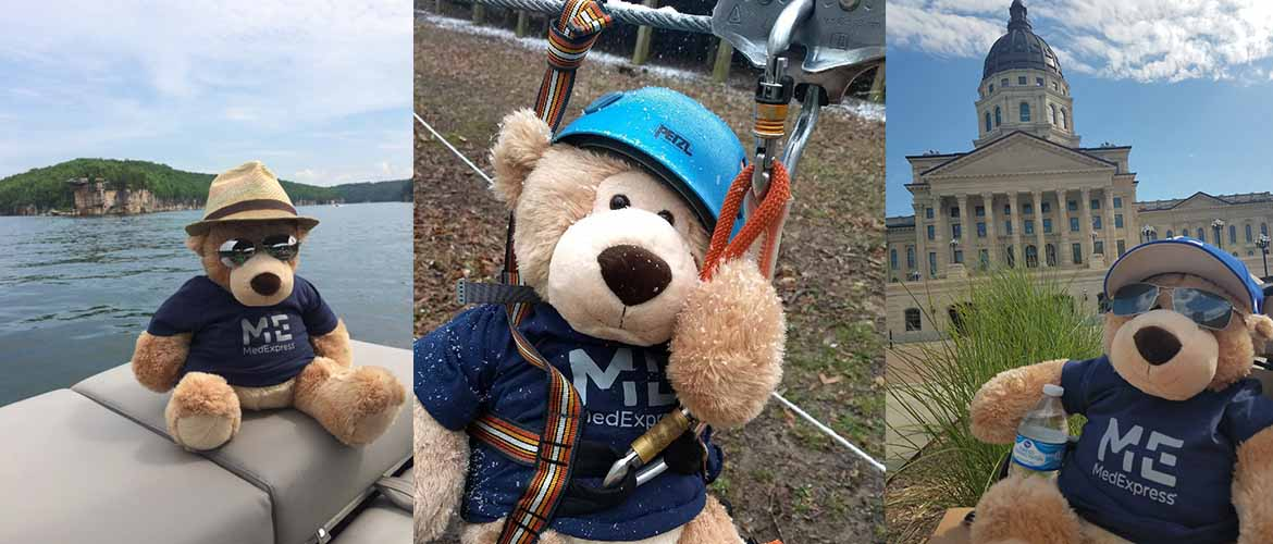 Sniffle doing various activities outdoors, including relaxing on a boat and zip lining