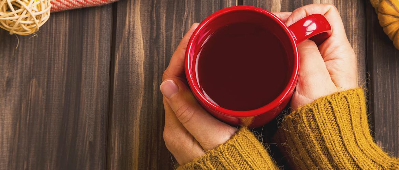 top view of mug of tea