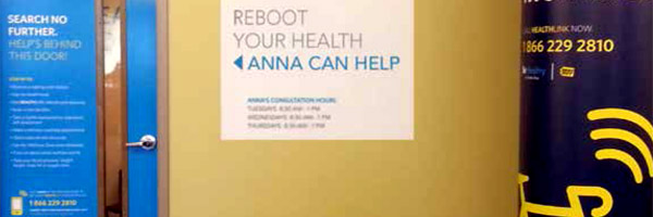 room with a door poster labeled reboot your health