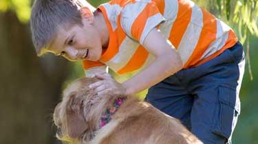 a boy reaching down to pet his dog's head