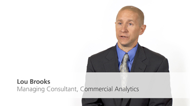 till frame from video featuring Lou Brooks, Managing Consultant, Commercial Analytics