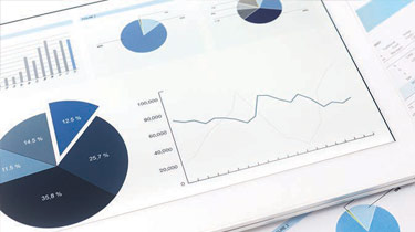 Data charts on a computer tablet screen