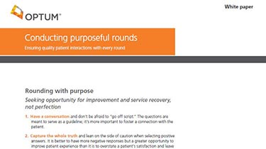 Thumbnail image of the iRound white paper, 'Conducting purposeful rounds'