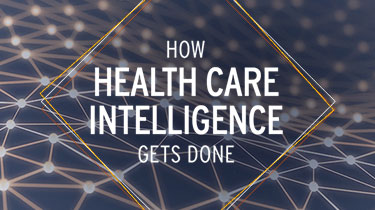 Abstract image showing connections with text that reads 'How health care intelligence gets done
